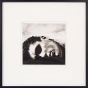 Robert Longo,Study for Ozymandias (Reclining Head), 2004, Ink and charcoal on vellum