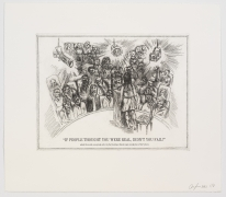 The Undiscovered Amerindians:If People Thought You Were Real, Didn't You Fail?,2012, Intaglio, engraving, and drypoint etching on paper,21h x 18.3w in (53.3h x 46.5w cm)