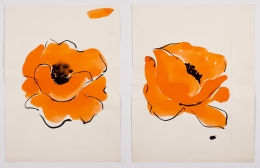 """Untitled, from the """"Florals"""" series, n.d., Watercolor and ink on paper"""