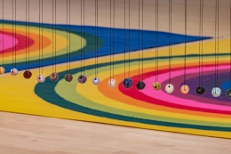 Polly Apfelbaum: Waiting for the UFOs (a space set between a landscape and a bunch of flowers), installation view, Kemper Museum of Contemporary Art, Kansas City (2019)