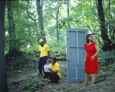 Rivers, First Draft: The Woman in Red hesitates outside after the Black Male Artists in Yellow eject her, 1982/2015, Digital C-print in 48 parts,16h x 20w in (40.64h x 50.80w cm)