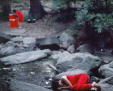 Rivers, First Draft: The Woman in Red cooks, and the Teenager in Magenta lies curled across the stream, 1982/2015, Digital C-print in 48 parts,16h x 20w in (40.64h x 50.80w cm)