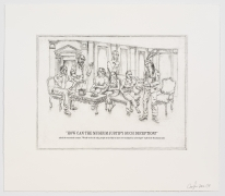 The Undiscovered Amerindians:How Can the Museum Justify Such Deception?,2012, Intaglio, engraving, and drypoint etching on paper,21h x 18.3w in (53.3h x 46.5w cm)