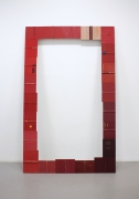 Threshold (Red), 2014, Antique book hardcovers mounted on wood