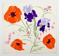 Iris and Poppies, from the Florals series, c. 1984, Watercolor on paper