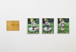"""Write the biography of an idea. From the series """"The Assignment Books"""", 2011, Brass plaque and digital prints"""