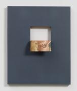 Doubleface (Gris de Payne), 2017, Oil paint and cut out on vintage oil painting