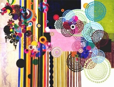 BEATRIZ MILHAZES, Pacaembu, 2004, acrylic on canvas, 105 3/4 X 135 inches