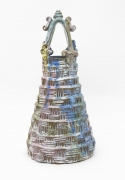 , Basket Ziggurat, 2008, Glazed earthenware, 16 1/2 x 8 1/4 x 8 1/4 in.