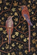 , FRED TOMASELLI, After Migrant Fruit Thugs, 2008, Wool background, silk birds with metallic thread detail, 98 x 64 inches, Edition of 5 + 3 AP