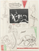 , Untitled [Fighting dinosaurs, lactating sphynx with Indian headdress], 1963.  Pencil and crayon with collage on paper.  24 x 18 in.  Collection Nancy Holt Estate