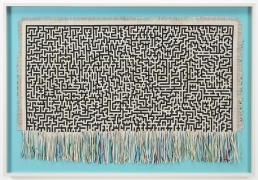 , SIMON EVANS Inbetweens, 2013 Mixed media on hand-woven paper 36 1/2 x 53 x 2 1/2 in.