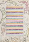 , Untitled [Striped center], 1964.  Pencil and crayon on paper.  30 x 21 in.