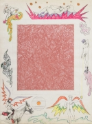 , Untitled [Pink linoleum center], 1964.  Collage and color pencil on paper. 30 x 22 in.