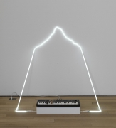 , RICHARD T. WALKER in defiance of being here #3, 2014 Neon, Casiotone MT-68 keyboard, rocks 29 x 66 x 71 in. (73.7 x 167.6 x 180.3 cm)