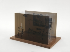 , JOHN CAGENot Wanting to Say Anything About Marcel Plexigram V,1969Screenprint on eight Plexiglas panels with walnut base14 x 20 x 1/8 in. (35.6 x 50.8 x 0.3 cm)