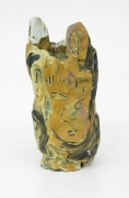 , Two Men and Two Houses Face Vase,1982, Earthenware and colored slips and glazes, 10 1/4 x 6 x 4 3/4 in.