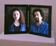Dolorosa, 2000 Color video diptych on two freestanding vertical LCD flat panels framed and hinged together, 11 minute loop