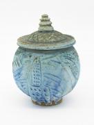 , Man Swimming In the Ocean of Life,1980, Wood fired porcelain, 8 1/2 x 6 1/4 x 6 1/4 in. including lid