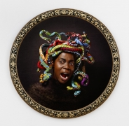 , YINKA SHONIBARE MBE Medusa West, 2015 Digital chromogenic print, bespoke wood frame Framed diameter: 44 7/8 in. (113.98 cm) Edition of 5