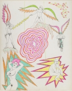, Untitled [Pink psychedelic center], 1964.  Pencil and crayon on paper.  28 x 22 in.