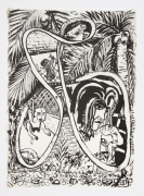 , Mermaid in Paradise, 1999, Ink on mulberry paper, 17 x 12 1/2 in.