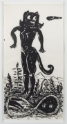 , Cat Girl In Paradise,1997,Ink on mulberry paper,56 1/2 x 28 1/2 in.