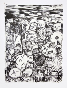 , The Gang,1990, Ink on mulberry paper, 17 x 12 1/2 in.