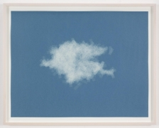 , SPENCER FINCH, Cloud (cumulus humilis, Vermont, 1), 2014, Scotch tape on paper, 19 3/4 x 25 1/2 in. (sheet), 21 5/8 x 27 1/2 in. (framed)