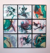 9 Piece Mimoid, 2001, 9 framed works pigment on paper, 82 1/2 x 82 1/2 inches