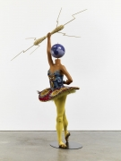 , YINKA SHONIBARE, MBE Ballet God (Zeus), 2015 Fibreglass mannequin, Dutch wax printed cotton textile, lightning, gun, globe, pointe shoes and steel baseplate 92 7/8 x 61 x 55 1/16 in. (236 x 155 x 140 cm)