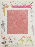 , ROBERT SMITHSON, Untitled [Pink linoleum center], 1964, Collage and color pencil on paper, 30 x 22 in.