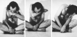 Vito Acconci, Trademarks, 1970, Black and white photographs of performance, 70 x 42 inches