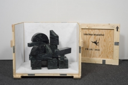 , DAVID BROOKS Marble Blocks - 218 lbs - or Sumatran Orangutan (Indonesia), 2014 Verde antique marble, stainless steel pins, wood crate, stencil paint, Tyvek, packing material, hardware 27 x 35 x 24 in. (68.6 x 88.9 x 61 cm) Courtesy of the artist and American Contemporary, New York