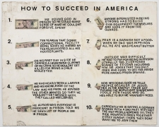 , SIMON EVANS How to Succeed in America, 2013 Money and adhesive letters on board