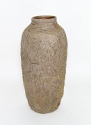 , Cat Girl On the Farm Jar, 1985, Carved and wood fired stoneware, 36 3/4 x 17 1/2 x 17 in.