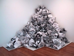 White Paper Pile, 2003, silkscreen on paper and wood, 108 x 108 x 108 inches