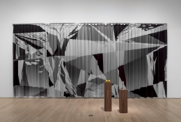 , ROMAN STETINA Untitled (Auditorium), 2014 Installation, digital print on fabric, metal constructions, black and white photograph Photograph, framed: 12 x 15 x 1 1/4 in. (30.48 x 38.1  x 3.175 cm) Curtain: 132 1/4 x 275 1/2 in. (335.91 x 698.5 cm) Edition of 3 Courtesy Polansky Gallery