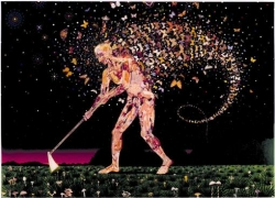 FRED TOMASELLI, Field Guides, 2003, photocollage, gouache, acrylic, resin on wood, 60 X 84 inches