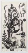, Life In Suspension,1989,Ink on mulberry paper,56 1/2 x 28 3/4 in.