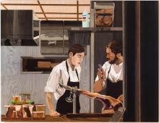 , ALISON ELIZABETH TAYLOREl Jamon,2014Wood veneer, shellac, acrylic, oil paint58 1/2 x 76 in. (148.6 x 193 cm)