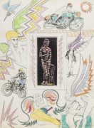 , Untitled [Venus with lightning bolts], 1964. Pencil and crayon with collage on paper.  30 x 22 in.