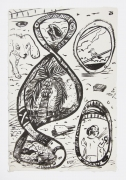 , A Day In the Neighborhood,1999, Ink on mulberry paper, 17 x 12 1/2 in.