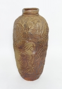 , Wild Life Jar, 1983, Carved and wood fired stoneware, 36 1/2 x 17 1/2 x 18 in.