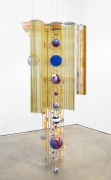 , BEATRIZ MILHAZES,Mariola, 2015 , Aluminum, brass, copper, acrylic, hand-painted enamel on aluminum, polyester and paper flowers, foiled paper, woodblock, screenprint, 89 x 42 x 32 in.