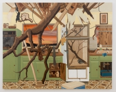 , ALISON ELIZABETH TAYLOR Kitchen, 2014 Wood veneer, oil, acrylic, shellac 92 x 116 in. (233.7 x 294.6 cm)