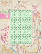 ROBERT SMITHSON Untitled [Green vertical square maze and woman with stockings], 1964