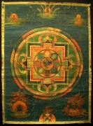 Sixteen-Armed Hevajra Mandala Thangka, Tibet, Late 18th Century, mineral colors on sized fabrics, attributed to the Kagyu Order