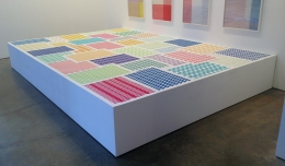 , MICHELLE GRABNERUntitled,2014Paper weavings, pedestal20 x 156 x 108 in. (50.8 x 396.2 x 274.3 cm)