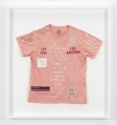 , SIMON EVANS The Ghost of Myself Talking to the City I live in, 2014 Mixed media on T-shirt 28 x 31 in. (71.1 x 78.7 cm)